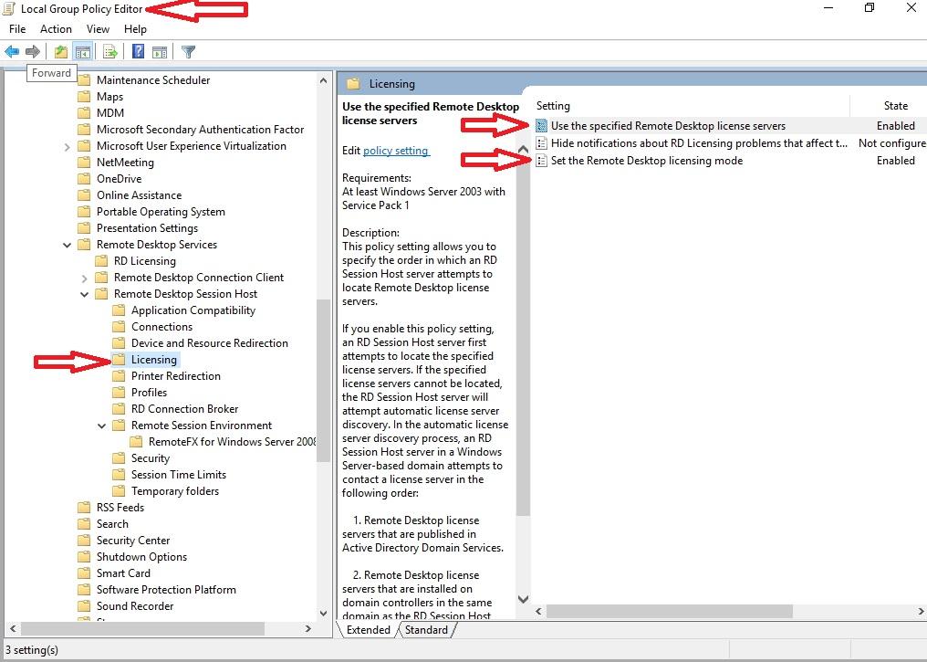 Licenční server pro terminálové služby RDP - Windows server